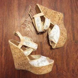 Alba Lace Cork Wedges